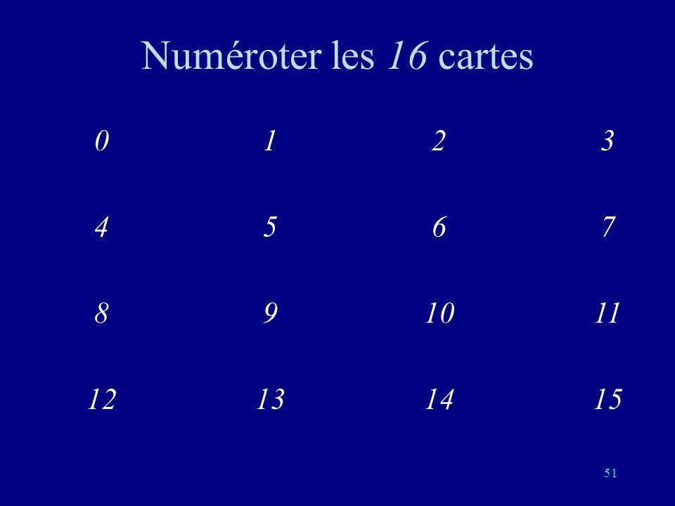 Numéroter les 16 cartes 1 3 2 4 5 7 6 8 9 11 10 12 13 15 14