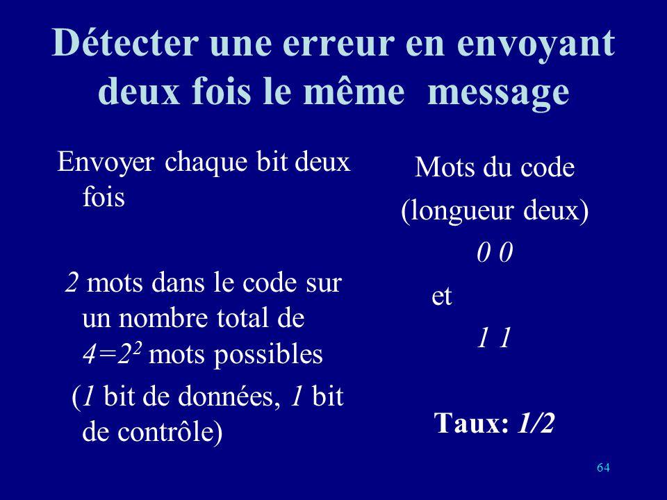 Détecter une erreur en envoyant deux fois le même message