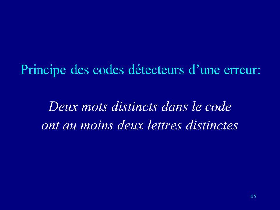 Deux mots distincts dans le code ont au moins deux lettres distinctes