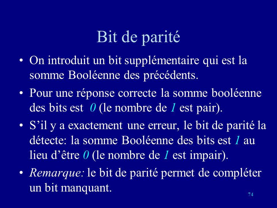 Bit de parité On introduit un bit supplémentaire qui est la somme Booléenne des précédents.