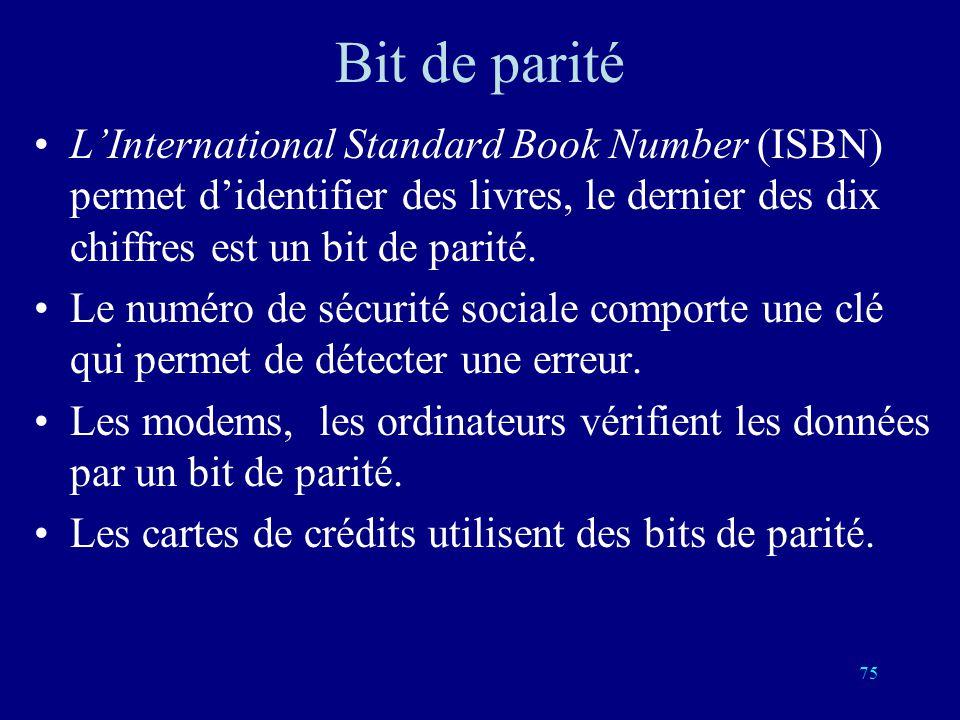 Bit de parité L'International Standard Book Number (ISBN) permet d'identifier des livres, le dernier des dix chiffres est un bit de parité.