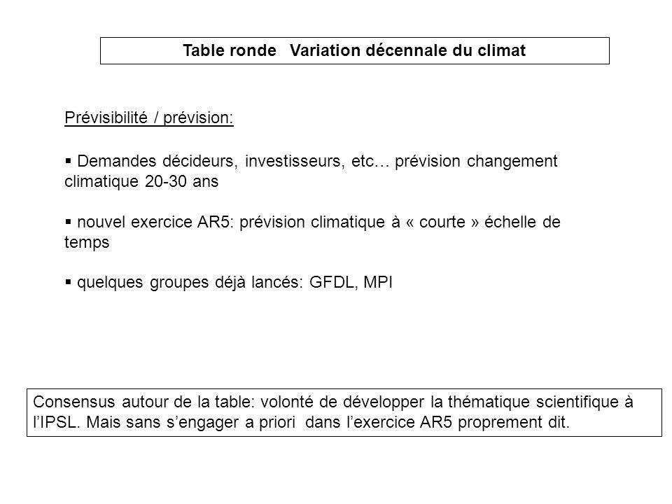 Table ronde Variation décennale du climat