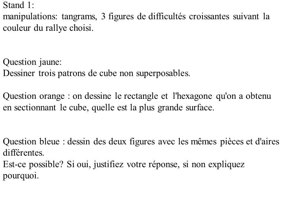 Stand 1: manipulations: tangrams, 3 figures de difficultés croissantes suivant la couleur du rallye choisi.