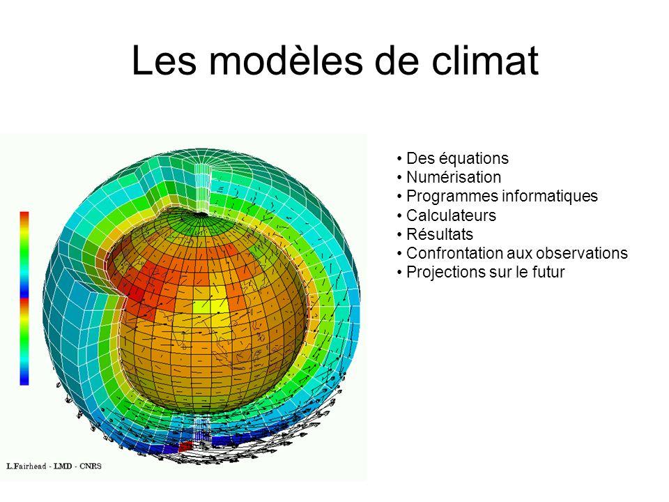 Les modèles de climat Des équations Numérisation
