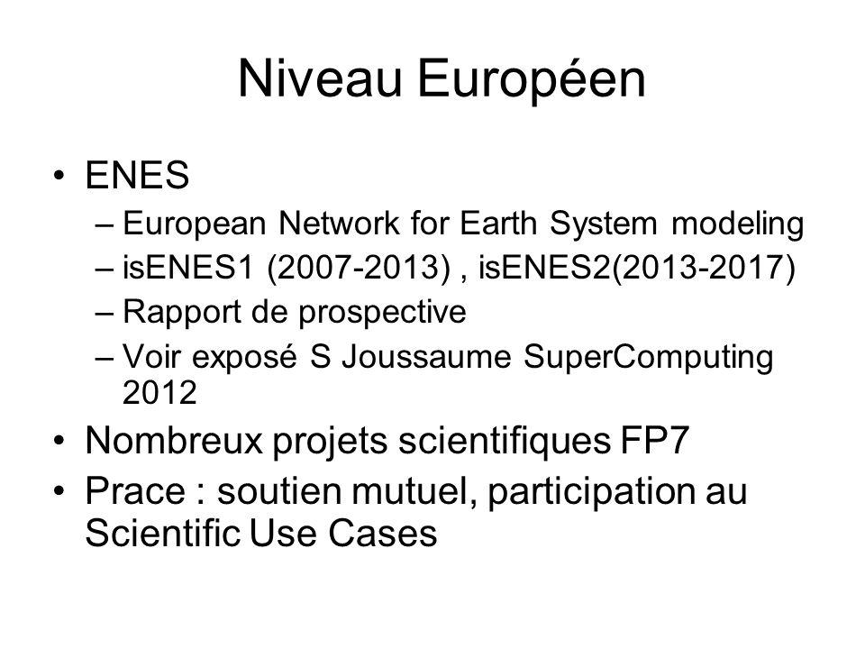Niveau Européen ENES Nombreux projets scientifiques FP7