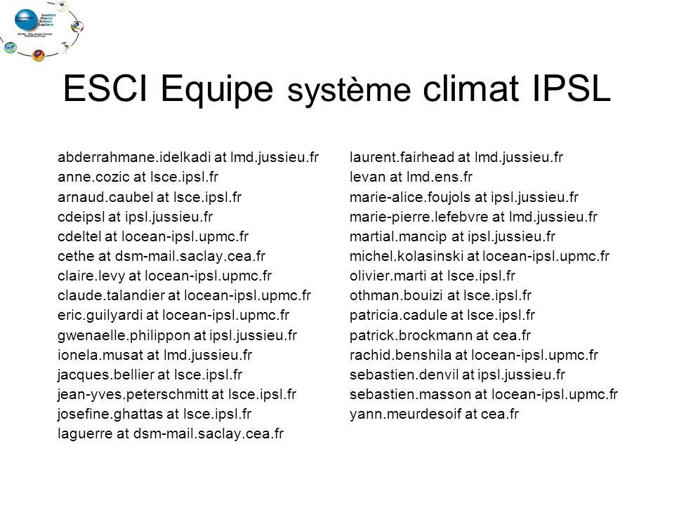 ESCI Equipe système climat IPSL