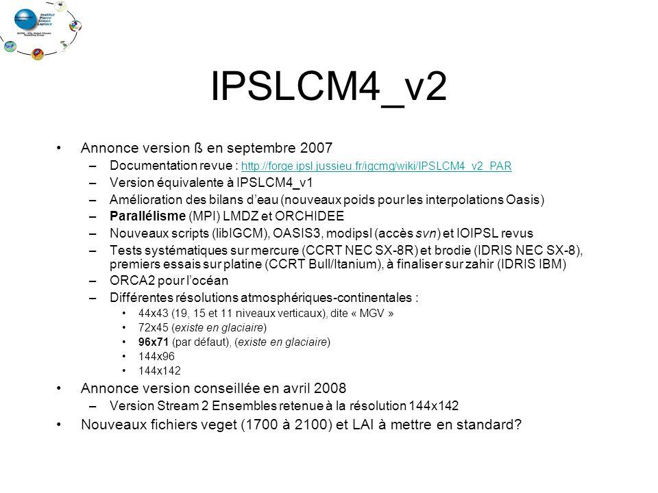 IPSLCM4_v2 Annonce version ß en septembre 2007