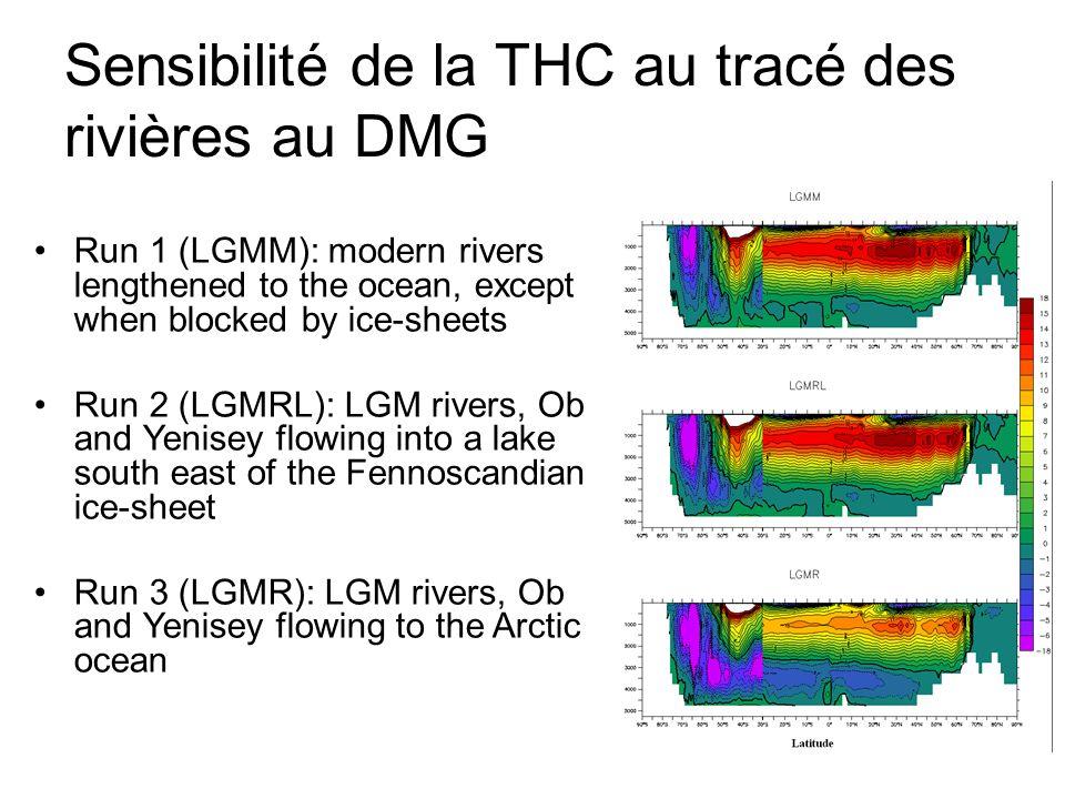 Sensibilité de la THC au tracé des rivières au DMG