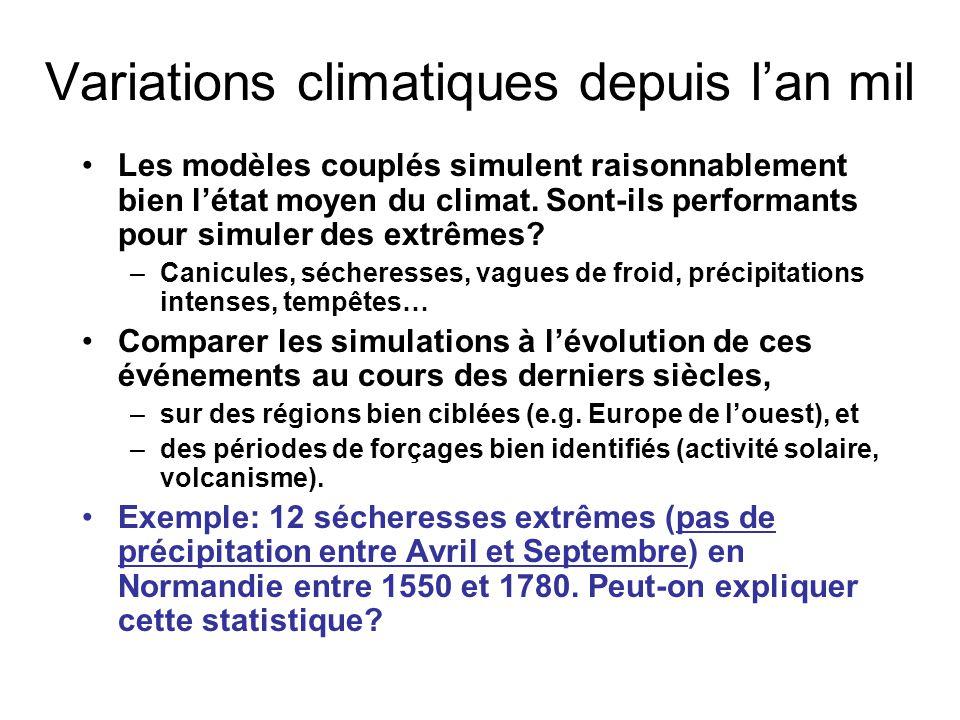 Variations climatiques depuis l'an mil