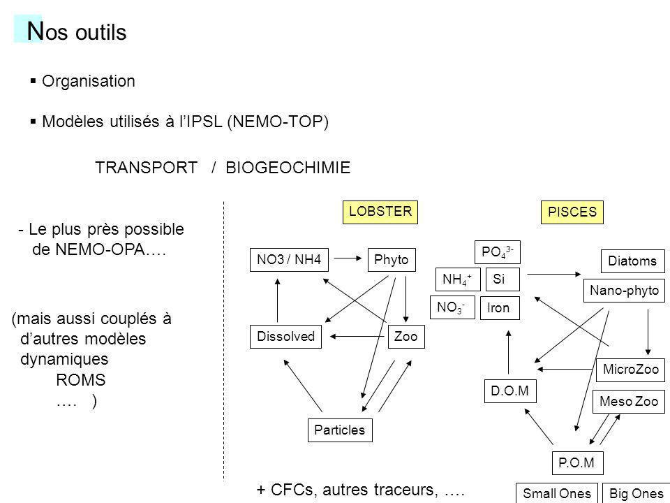Nos outils Organisation Modèles utilisés à l'IPSL (NEMO-TOP)