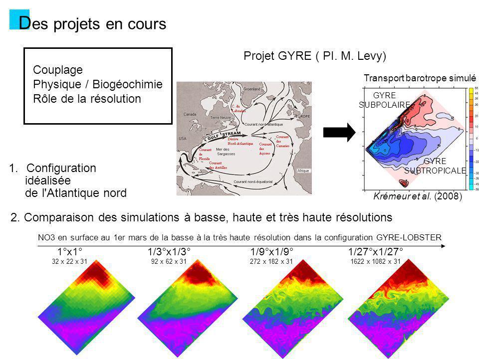 Des projets en cours Projet GYRE ( PI. M. Levy) Couplage