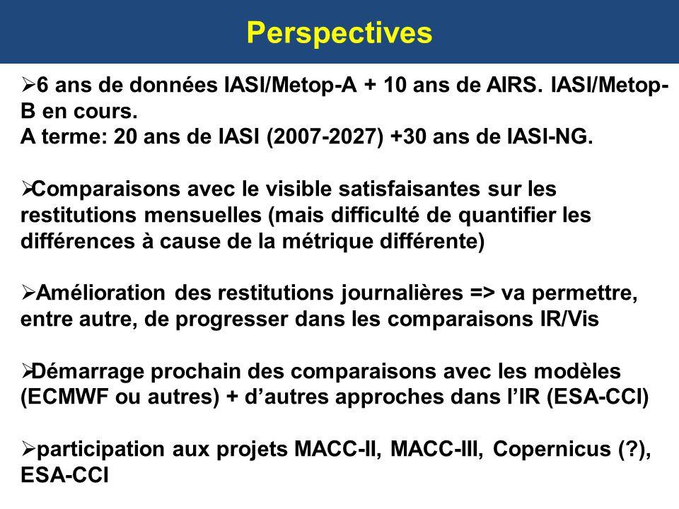 Perspectives 6 ans de données IASI/Metop-A + 10 ans de AIRS. IASI/Metop-B en cours. A terme: 20 ans de IASI (2007-2027) +30 ans de IASI-NG.