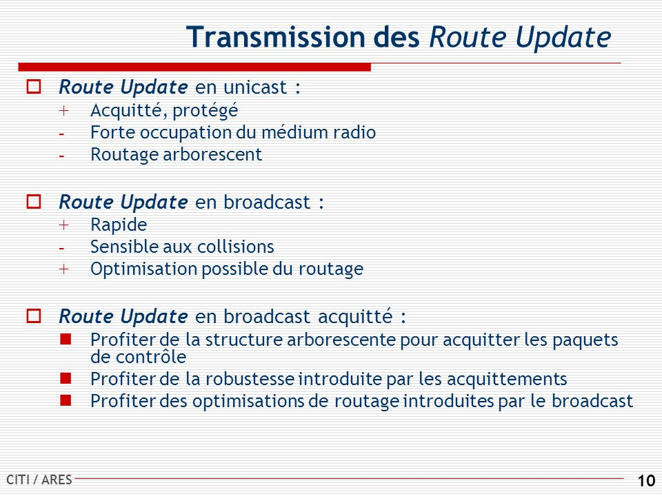 Transmission des Route Update