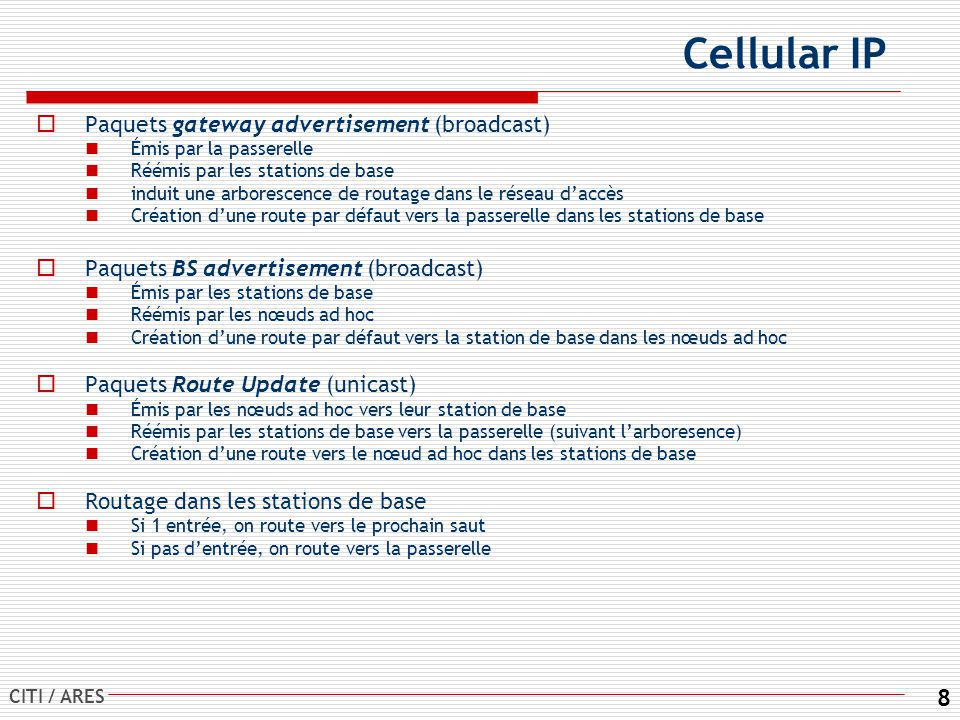 Cellular IP Paquets gateway advertisement (broadcast)