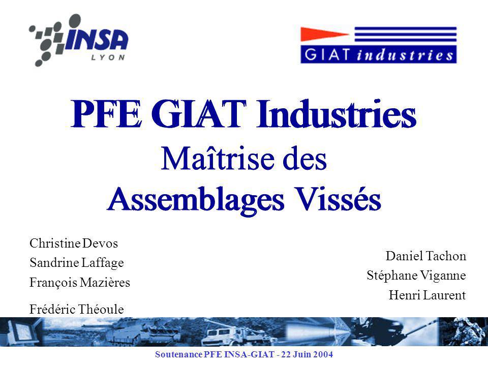 PFE GIAT Industries Maîtrise des Assemblages Vissés
