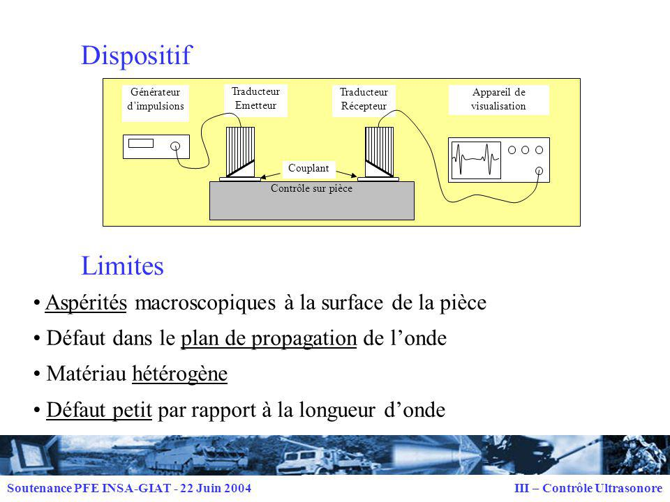 Dispositif Limites Aspérités macroscopiques à la surface de la pièce