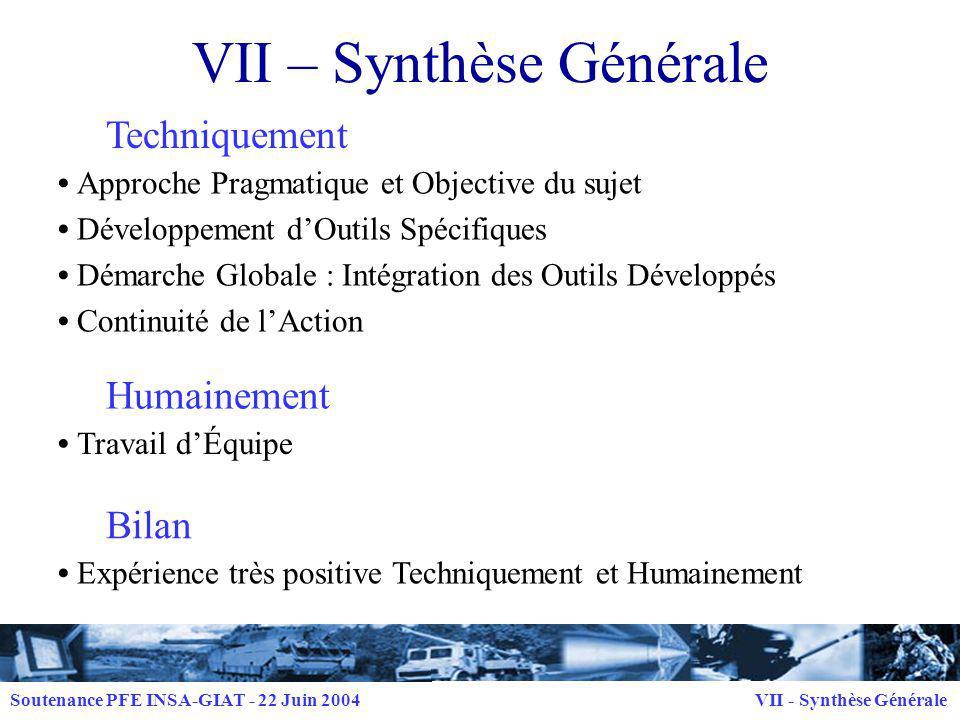 VII – Synthèse Générale