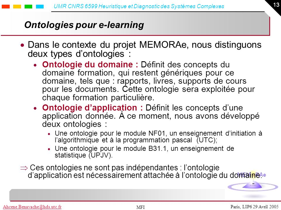 Ontologies pour e-learning