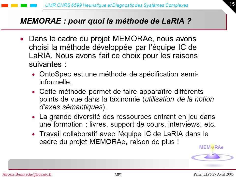 MEMORAE : pour quoi la méthode de LaRIA