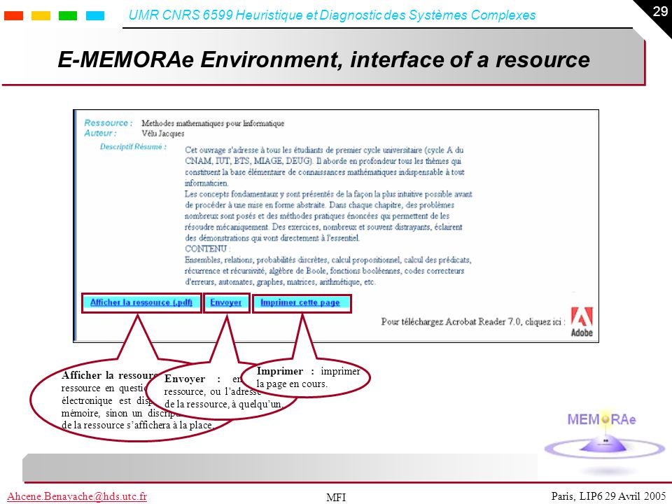 E-MEMORAe Environment, interface of a resource
