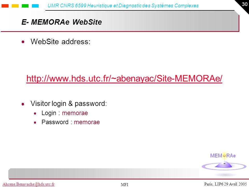 http://www.hds.utc.fr/~abenayac/Site-MEMORAe/ E- MEMORAe WebSite