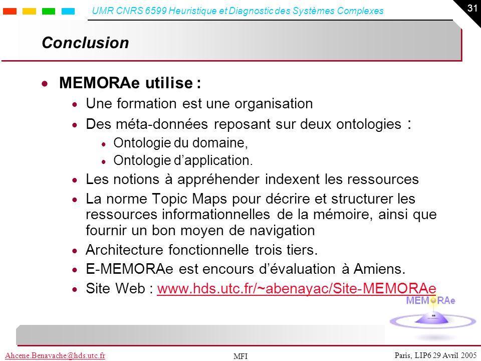 Conclusion MEMORAe utilise : Une formation est une organisation