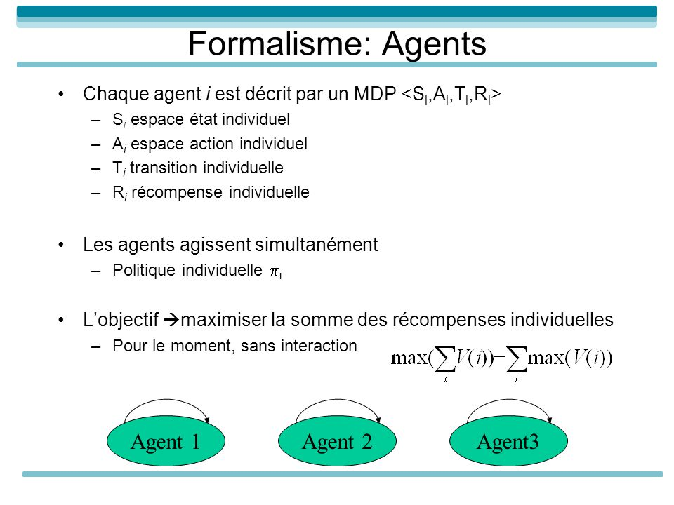 Formalisme: Agents Agent 1 Agent 2 Agent3
