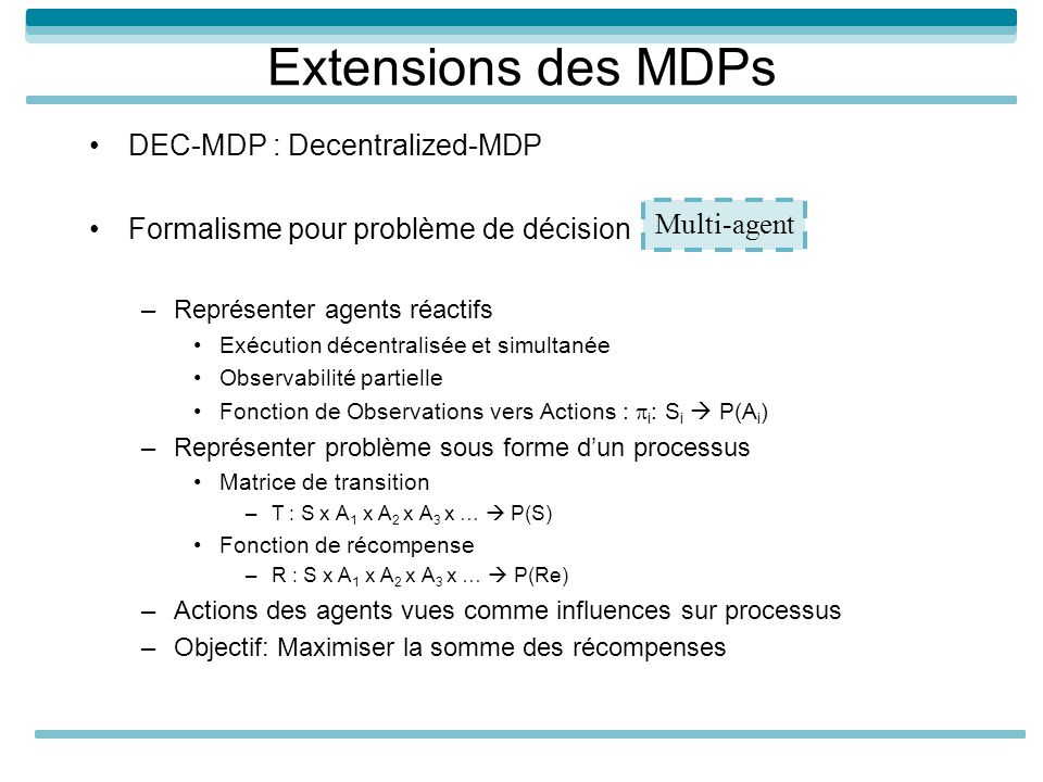 Extensions des MDPs DEC-MDP : Decentralized-MDP