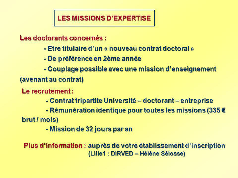 LES MISSIONS D'EXPERTISE