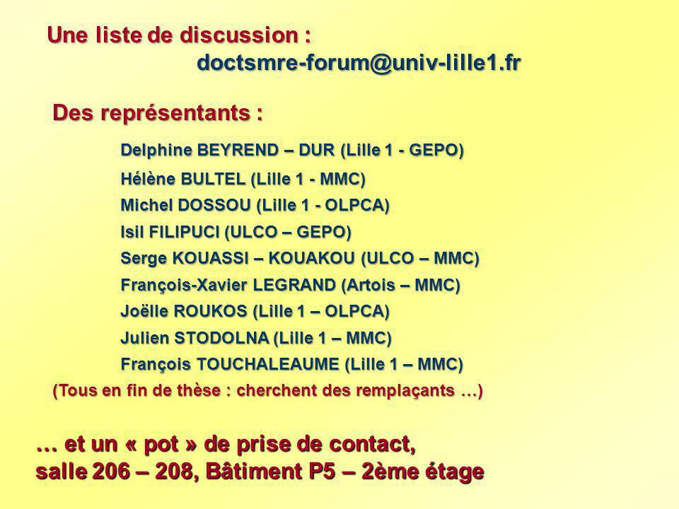 Une liste de discussion : doctsmre-forum@univ-lille1.fr