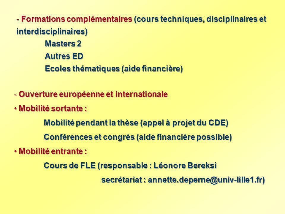Formations complémentaires (cours techniques, disciplinaires et interdisciplinaires)