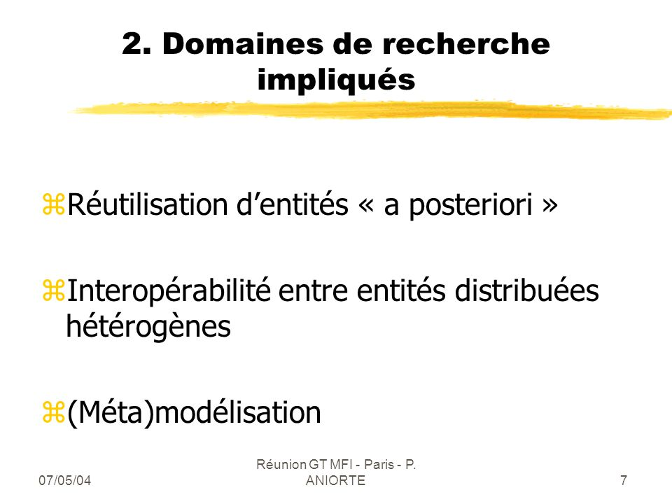 2. Domaines de recherche impliqués