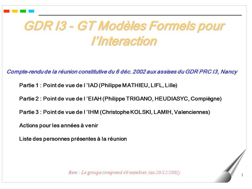 GDR I3 - GT Modèles Formels pour l'Interaction