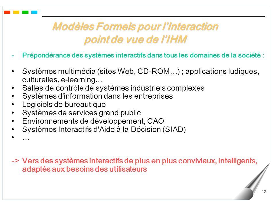 Modèles Formels pour l'Interaction point de vue de l'IHM