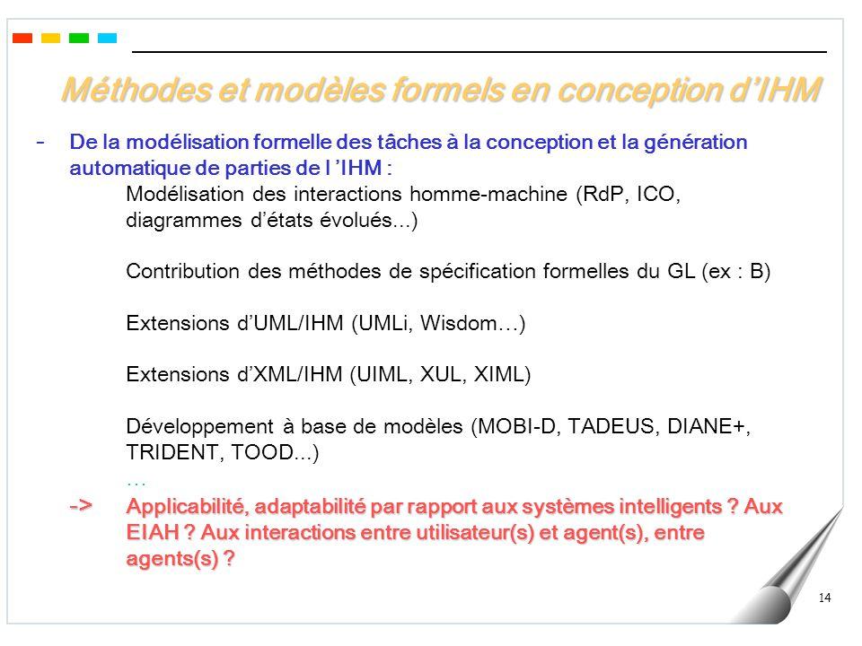 Méthodes et modèles formels en conception d'IHM
