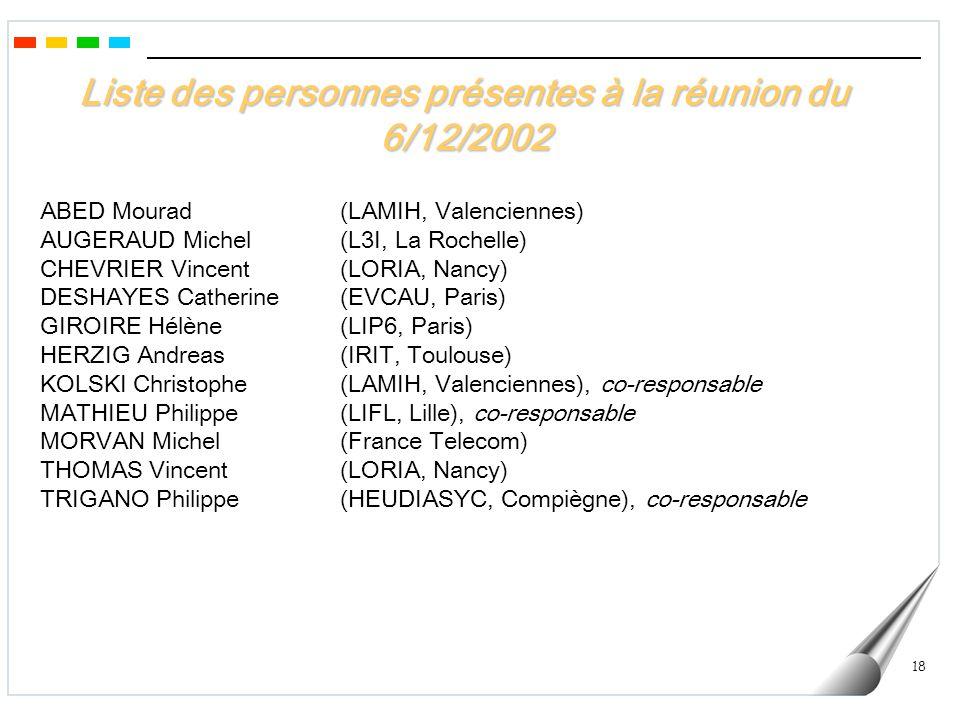 Liste des personnes présentes à la réunion du 6/12/2002