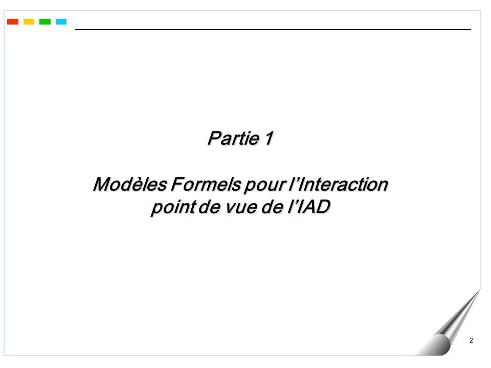 Partie 1 Modèles Formels pour l'Interaction point de vue de l'IAD