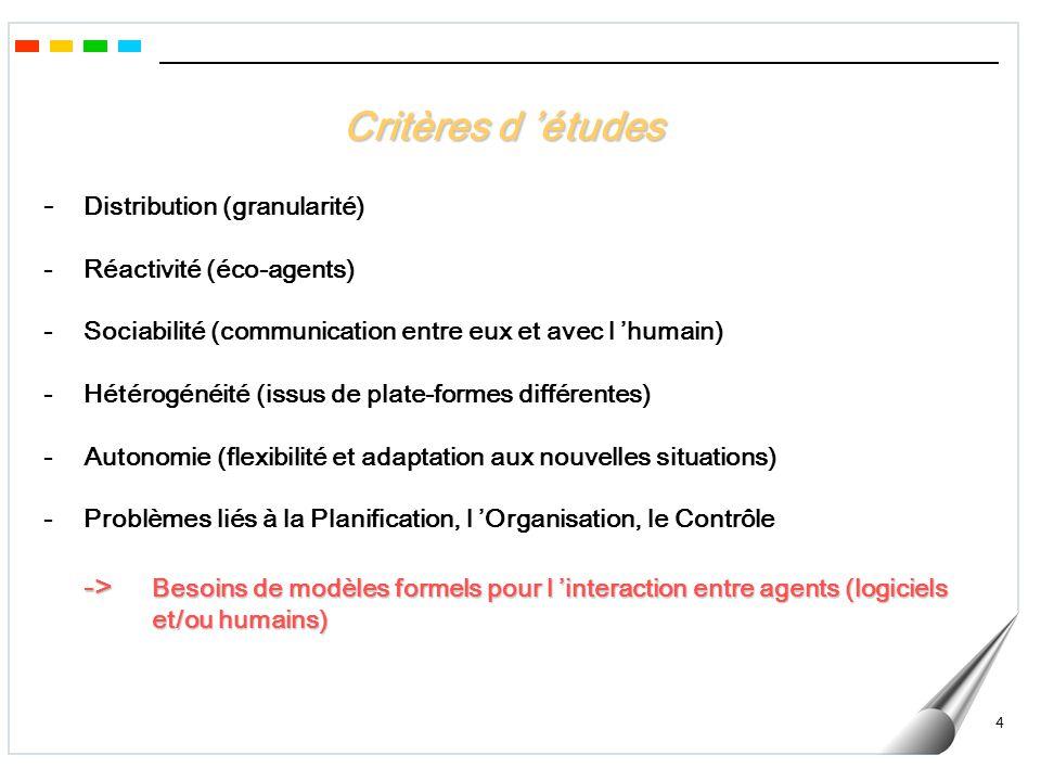 Critères d 'études - Distribution (granularité)