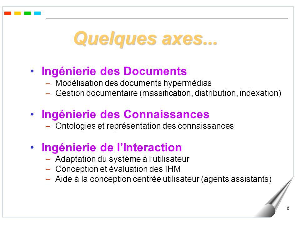Quelques axes... Ingénierie des Documents Ingénierie des Connaissances