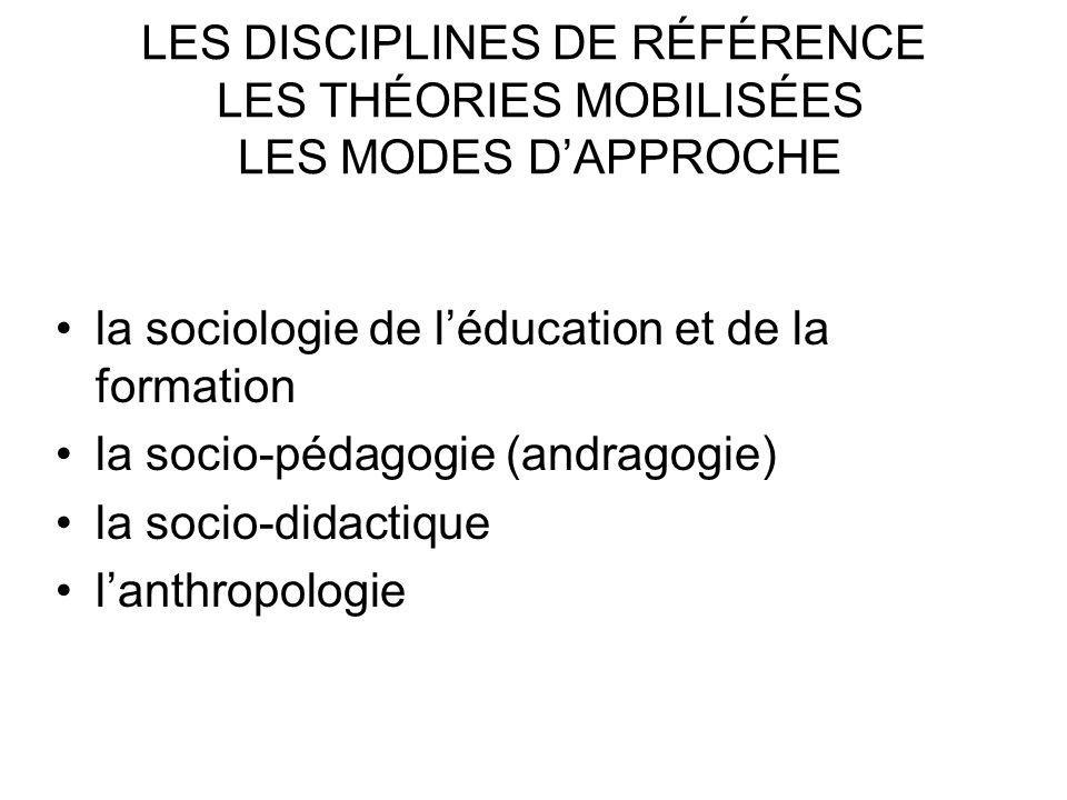 LES DISCIPLINES DE RÉFÉRENCE LES THÉORIES MOBILISÉES LES MODES D'APPROCHE