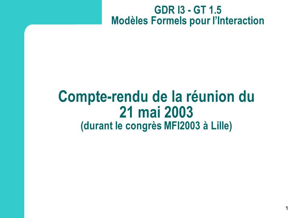 Compte-rendu de la réunion du 21 mai 2003