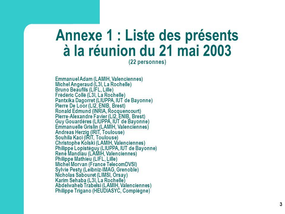 Annexe 1 : Liste des présents à la réunion du 21 mai 2003