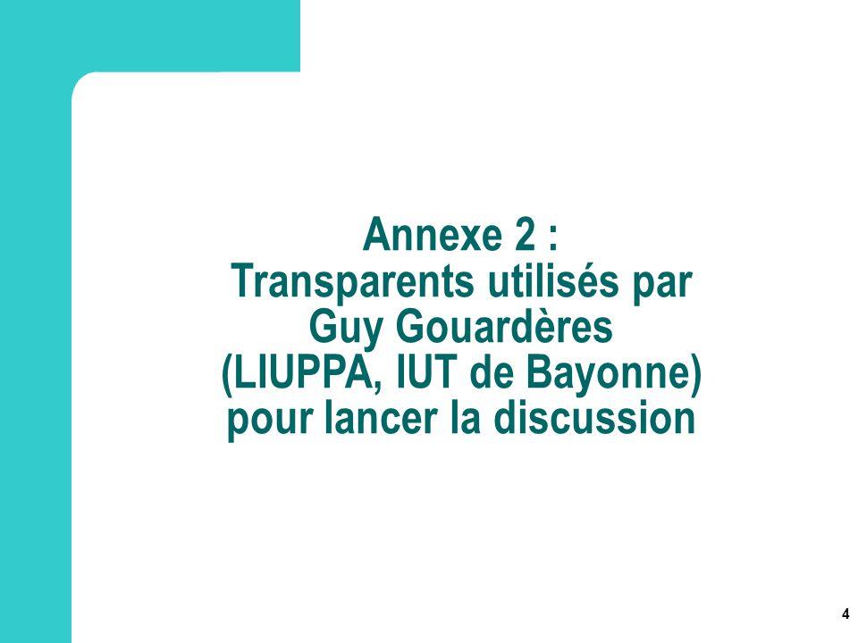 Transparents utilisés par Guy Gouardères (LIUPPA, IUT de Bayonne)