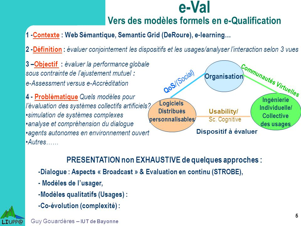 e-Val Vers des modèles formels en e-Qualification