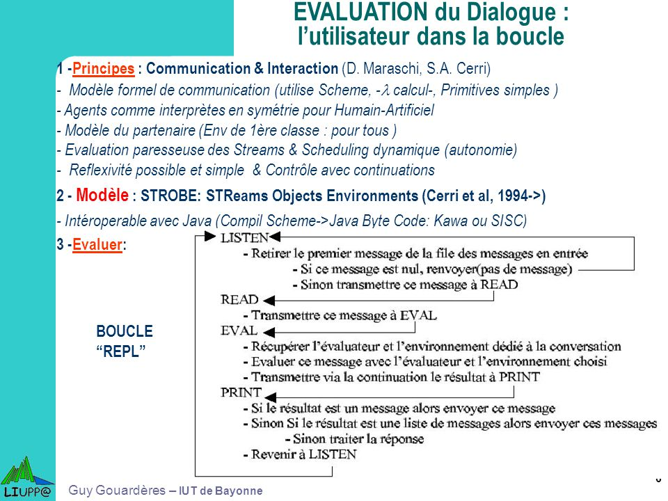 EVALUATION du Dialogue : l'utilisateur dans la boucle