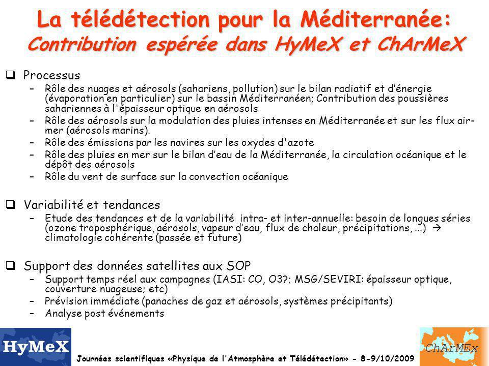 La télédétection pour la Méditerranée: Contribution espérée dans HyMeX et ChArMeX