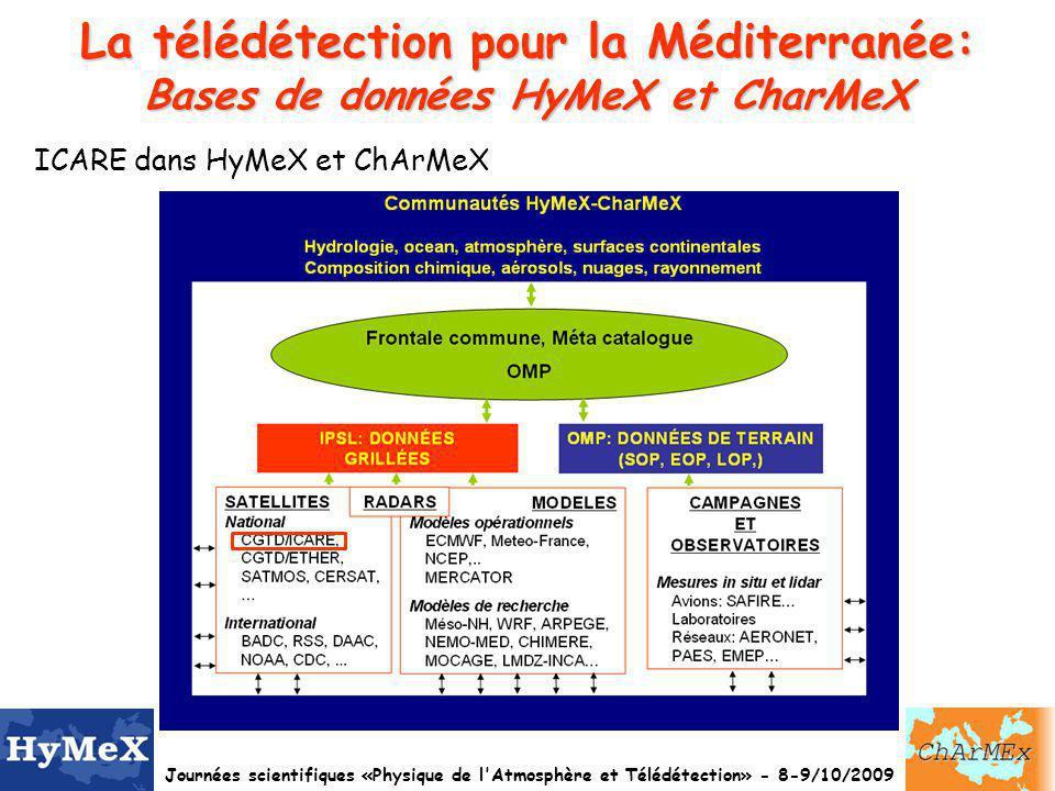 La télédétection pour la Méditerranée: Bases de données HyMeX et CharMeX
