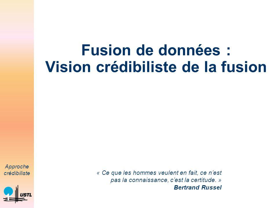 Fusion de données : Vision crédibiliste de la fusion