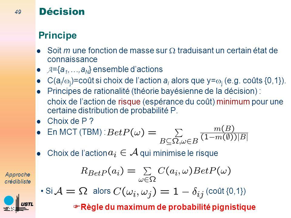 Décision Principe. Soit m une fonction de masse sur W traduisant un certain état de connaissance. A={a1,…,aN} ensemble d'actions.