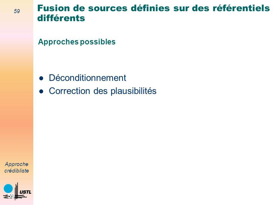 Fusion de sources définies sur des référentiels différents